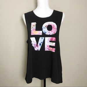 Chaser Vintage Floral Love Graphic Tank